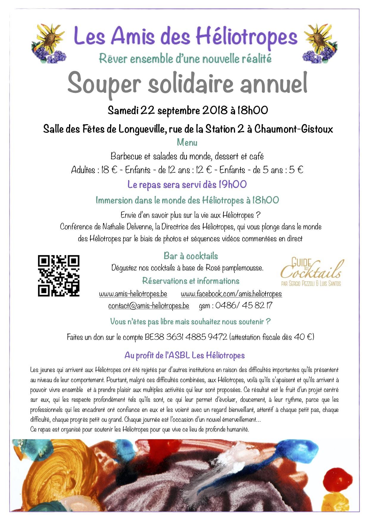 Souper annuel solidaire des Amis des Héliotropes le  22 septembre 2018